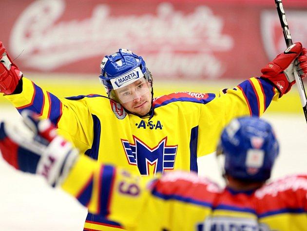 Utkání  1. ligy hokeje mezi HC ČEZ Motor České Budějovice a HC Slovan Ústečtí Lvi.