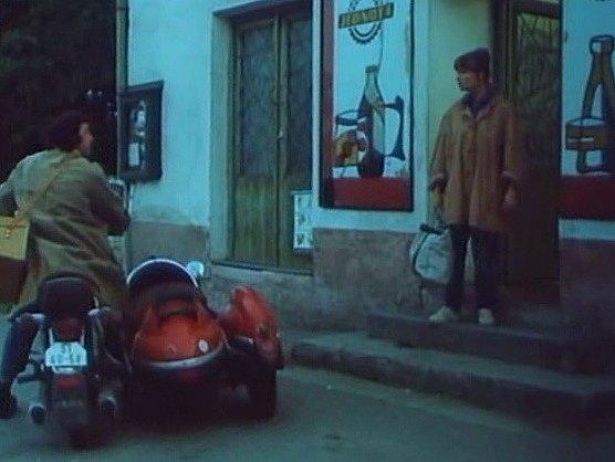 Před prodejnou v Litochovicích inseminátor Hubička (Franta Kocourek) sděluje zootechničce Majdalénce Čadové (Jitka Molavcová), že je problém s býkem.