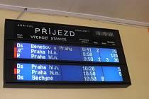 Cestující na táborském nádraží sledovali naskakující zpoždění.