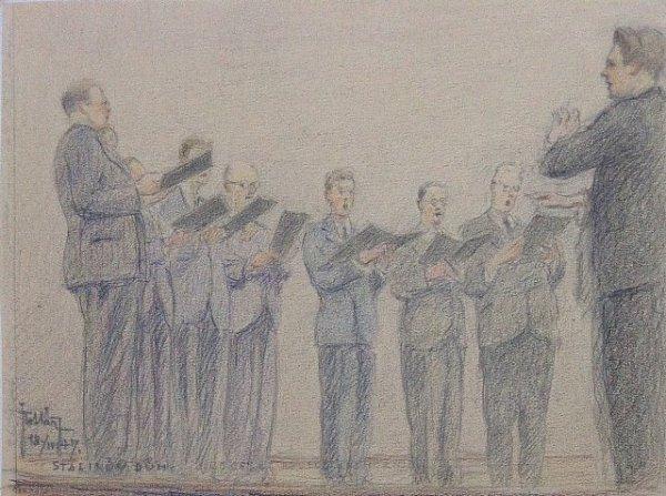 Netradičně je vkronice zachycena část mužského sboru při koncertě ve Slovanském domě vPraze vroce 1947.