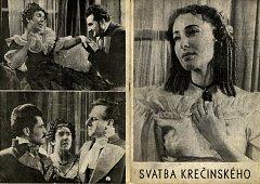 Vpravo:  Květa Fialová v roce 1954 ve hře Svatba Krečínského, kde hrála hlavní ženskou roli.