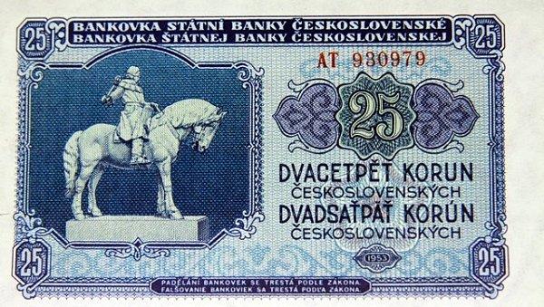 Peníze, které se používaly po měnové reformě vroce 1953.Na pětadvacetikoruně byl vyobrazen Jan Žižka