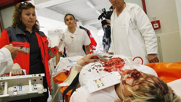 Zdravotnické cvičení dnes proběhlo v českobudějovické nemocnici