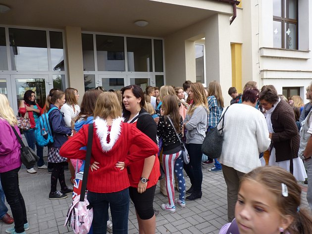 První školní den na rožnovské základní škole v Českých Budějovicích.