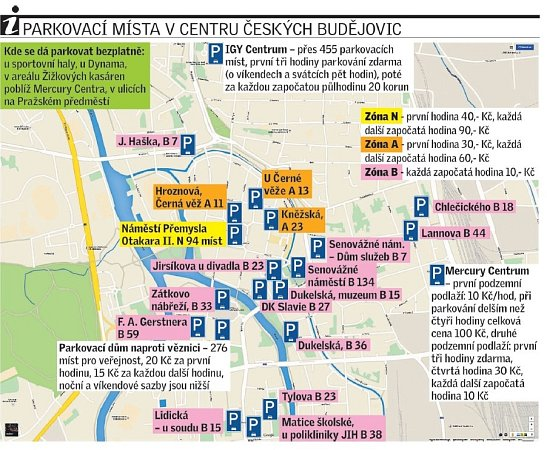 Parkování vcentru Budějovic.