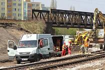 Rekonstrukce IV. železničního koridoru v Českých Budějovicích.