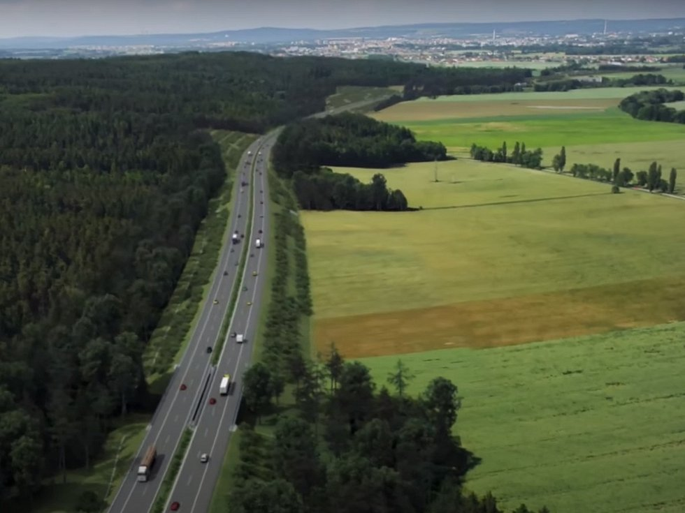 Vizualizace dálnice D3 v krajině jižně od Českých Budějovic.