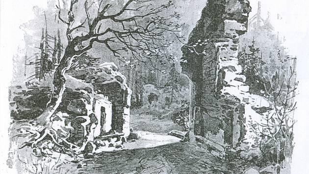 Podobu Karlova hrádku v roce 1890 zachycuje malba krajináře Karla Liebschera.