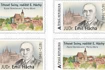 Město Trhové Sviny připravilo vydání známek na nichž je kostel Nanebevzetí Panny Marie a portrét Emila Háchy, někdejšího prezidenta.