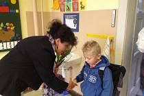 První školní den na základní škole ve Strýčicích.
