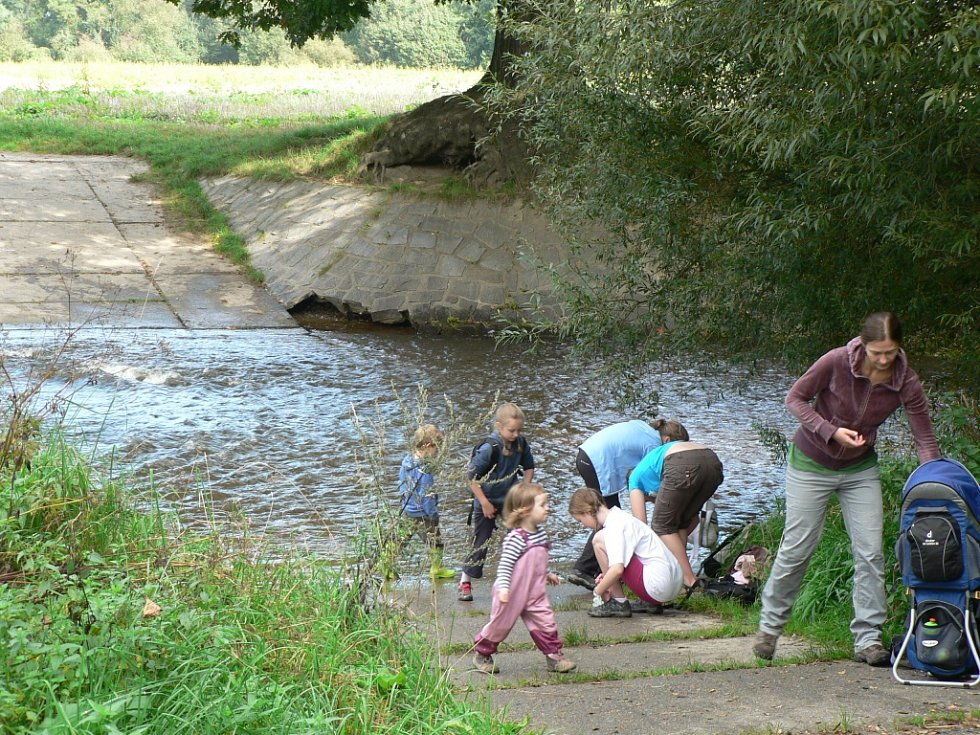 Tůně U Špačků na okraji Budějovic se staly cílem vycházky pořádané ekology. Atrakcí pro děti byl brod.