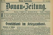 Strana novin Donau-Zeitung z 2. srpna 1914, které účastníci digitalizovali v rámci projektu.