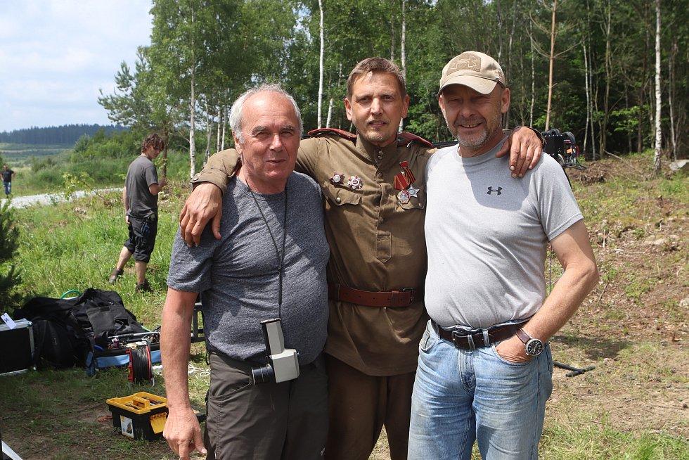 Natáčení filmu Nabarvené ptáče režiséra Václava Marhoula v Boleticích.