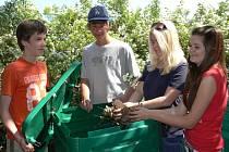 Poté, co žáci nové kompostéry sestavili, začali je plnit suchým listím z dubů, stojících na zahradě.