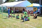 Oslavy výročí sportovního klubu v Plané na Českobudějovicku. Předvedli se i mladí fotbalisté.