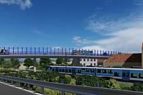 Stavba nového mostu přes železniční trať u Trocnova nedaleko Borovan na Českobudějovicku. Na vizualizaci budoucí podoba lokality. Zdroj: Správa a údržba silnic Jihočeského kraje