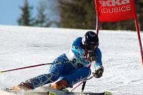 Loni nejlepší mladší česká juniorka Zuzana Matoušová, která patří k největším nadějím jihočeského lyžování, na trati obřího slalomu na jarním mistrovství republiky ve Svatém Petru.