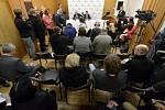 Tisková konference při návštěvě prezidenta Miloše Zemana v Jižních Čechách.