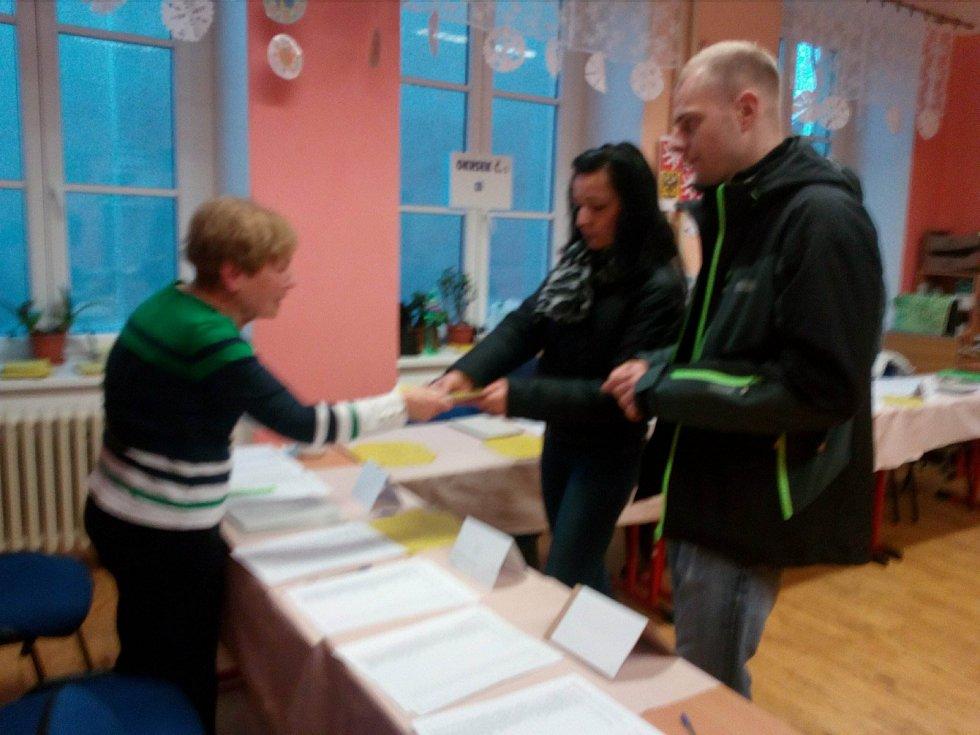 Ve volebním okrsku v církevní základní škole na českobudějovické Rudolfovské třídě dávali voličům na výběr i hlasovací lístek náhradníka Pavla Fischera.