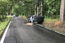 Sobotní dopravní nehoda, k níž došlo mezi Hrdějovicemi a Hlubokou nad Vltavou.