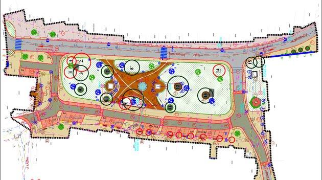 Kolečka vprojektové dokumentaci označují zeleň na náměstí. Tmavě zelená kola označují stávající stromy, červená zeleň kodstranění. Modré a zelené symboly označují místa, kde je navržena výsadba nových stromů.