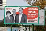 Předvolební billboard KSČM. Známka odborníka na marketing: 3.