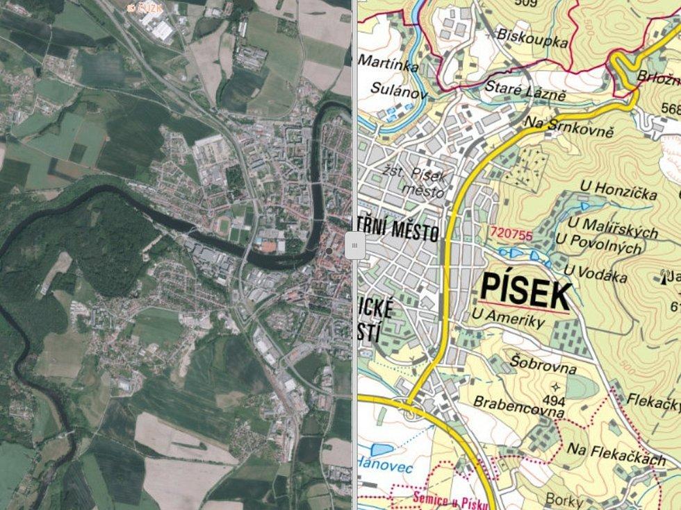 Na Geoportálu Jihočeského kraje najdete také krajské ortofotomapy a místopisné mapy, na snímku je Písek.