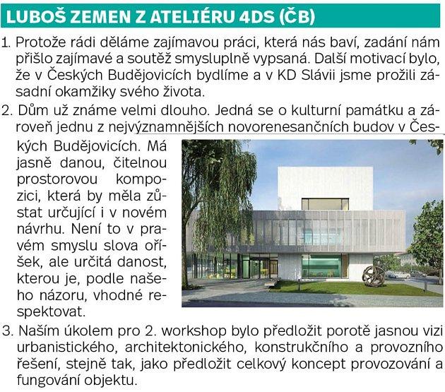 Účastníci soutěže na rekonstrukci Slavie.