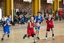 Momentka z utkání staršího minižactva U13 Tigers Basketball České Budějovice proti SKB Strakonice. To se uskutečnilo v rámci Basketbalového dne 15. ledna 2014.