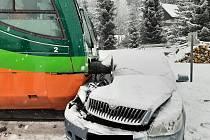 Sníh na jihu Čech způsobil řadu dopravních nehod.