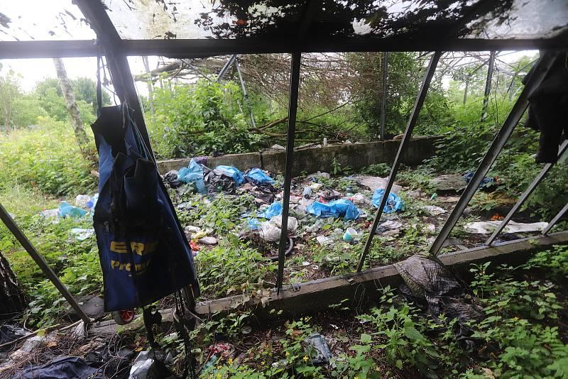 Vymlácený areál skleníků s tunami odpadků, šrot, vraky. I to jsou Budějovice.