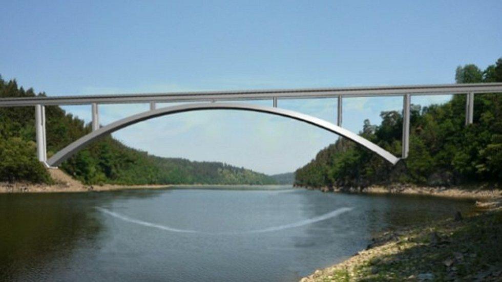Vizualizace nového obloukového železobetonového železničního mostu přes Orlickou přehradu u Červené nad Vltavou.
