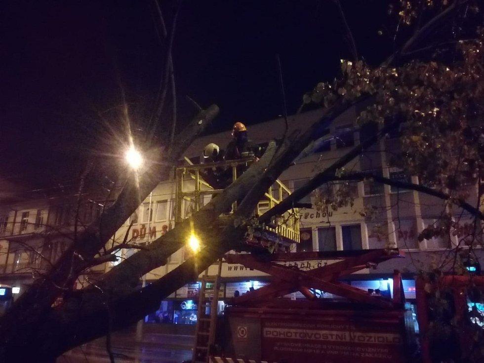 Kvůli větru zasahovali hasiči v Českých Budějovicích už před dvěma dny, když odstraňovali padlý strom u pošty.