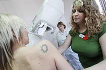 Tři pracoviště v Jihočeském kraji se věnují mamografickému screening, vyhledávání příznaků malých tumorů. Na snímku pracoviště na poliklinice Medipont, asistentky Pavlína Hronková v zeleném tričku, v pozadí Vlasta Pešková.
