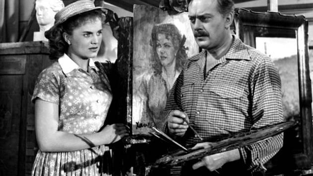 Ludmila Vendlová a Karel Höger jako ústřední dvojice filmu Nezlob, Kristino. Malíř pod dívčiným vlivem změní způsob tvorby.