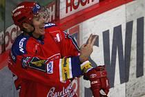 Útočník domácího HC Mountfield Jiří Šimánek.