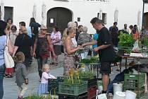 Tradiční trh na Piaristickém náměstí v Českých Budějovicích.