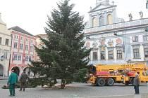 Příprava vánočního stromu v Českých Budějovicích. Ilustrační foto.