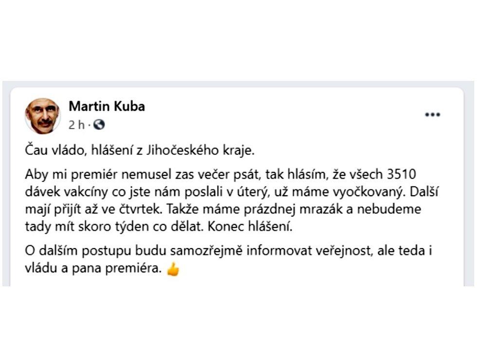 Jihočeský hejtman Martin Kuba poslal prostřednictvím sociální sítě facebook svérázný vzkaz premiéru Andreji Babišovi.