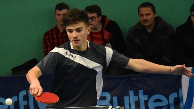 Jeden z největších talentů jihočeského stolního tenisu Jakub Slapnička.