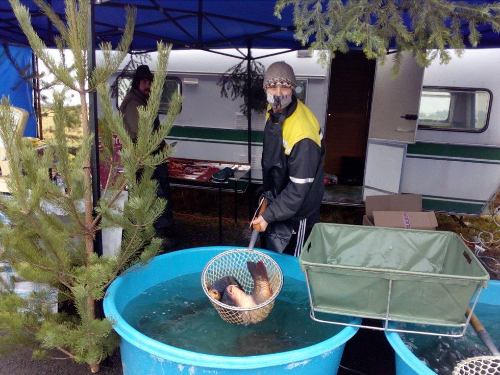 Prodej ryb na stánku ve Strážkovicích. Premiérová akce místního rybářského sdružení u kapličky.