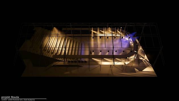 Na zelené ploše Mariánského náměstí bude stát dřevěná Bouda s plátěnou střechou. Usadí 230 diváků.