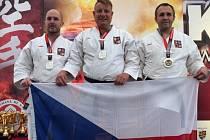 český kata tým mužů v jihočeské sestavě David Senkýř, Martin Hermann a Martin Sláma vybojoval na mistrovství světa v karate WUKF v rumunské Cluj – Napoca stříbrnou medaili.