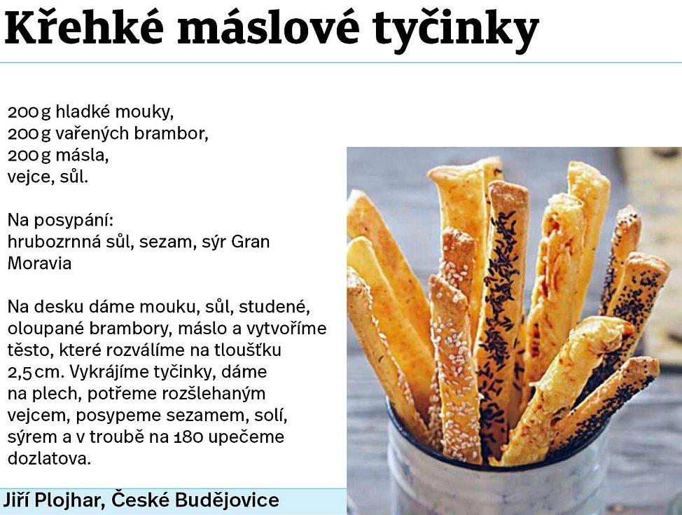 Křehké máslové tyčinky.