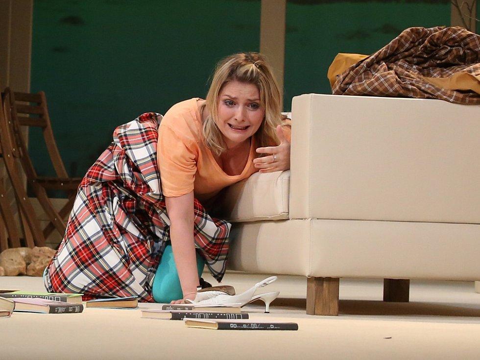 Činohra Jihočeského divadla uvedla 24. dubna premiéru komedie Žena jako druh. Na snímku Dana Verzichová jako Tess Thornton.