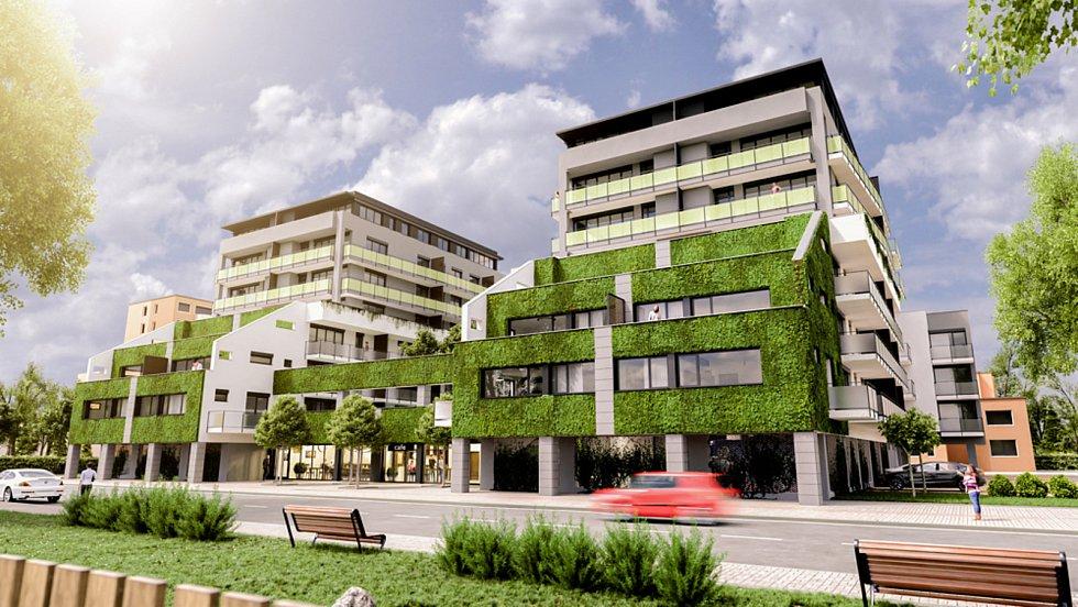 Vizualizace rezidence Oskarka. Stavbu navrhli architekti Jiří Brůha, Václav Krampera.