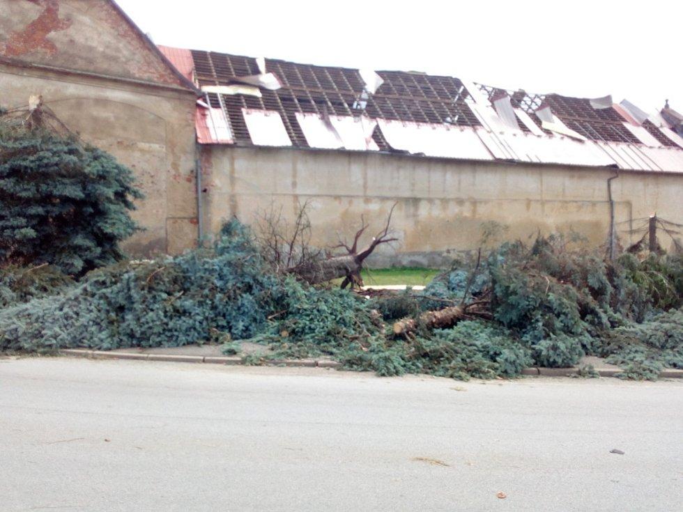 V noci na čtvrtek 24. 6. 2021 způsobila velké škody na Českobudějovicku další ze série bouřek. Na snímku náves v Dřítni.