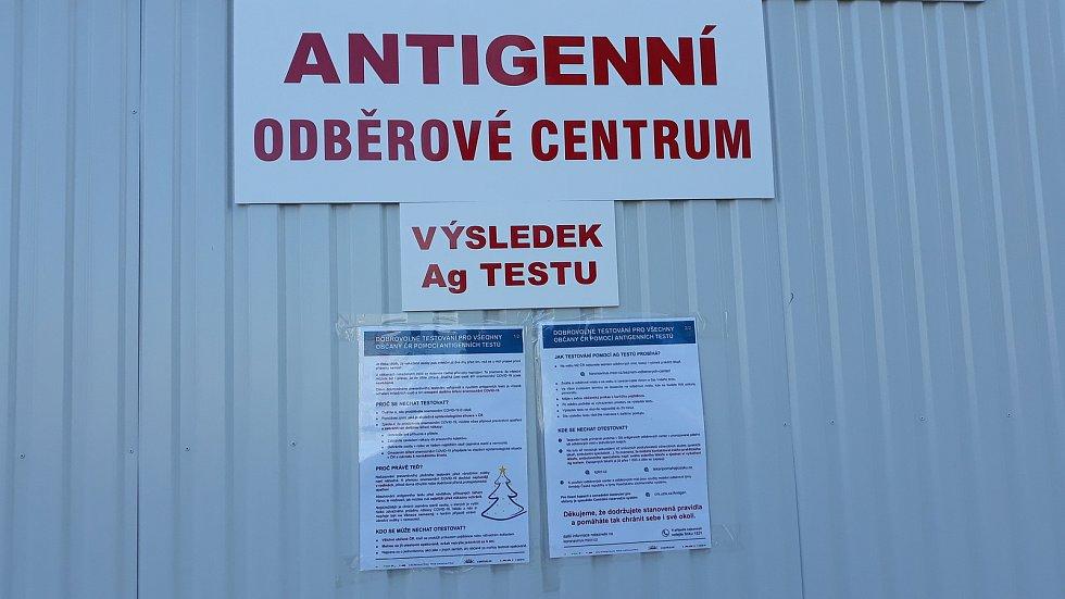 Odběrové centrum v Táboře, kde jsme absolvovali první testy.