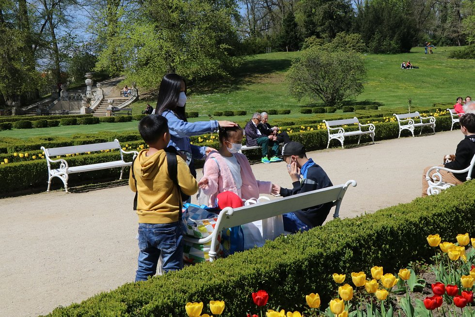 Navzdory chladnému ránu lákalo sluníčko přes den Jihočechy na výlet. Návštěvníci Zámecké zahrady v Hluboké nad Vltavou využili nádherného počasí k procházkám a návštěvě výstavy.