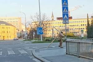 Ulicemi Budějovic prochází s obřím křížem. Pátrejte s námi po záhadném muži.